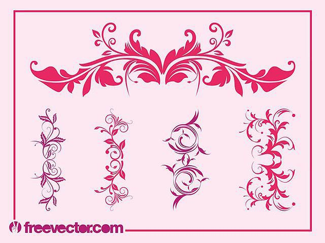 Vintage Floral Ornaments Set fresh best free vector packs kits
