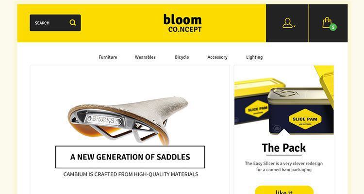 Bloom E-Commerce Concept modern clean web template psd photoshop free
