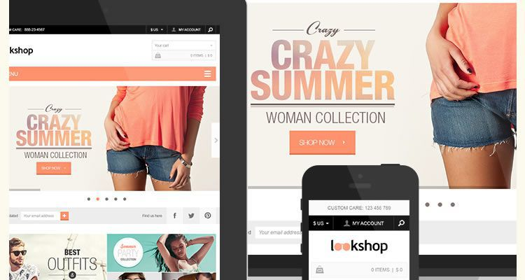 LookShop Ecommerce Includes both desktop mobile versions modern clean web template psd photoshop free