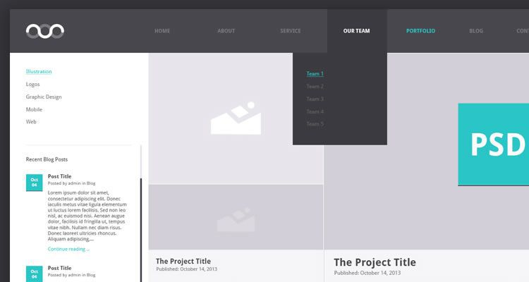 Portfolio Archive modern clean web template psd photoshop free