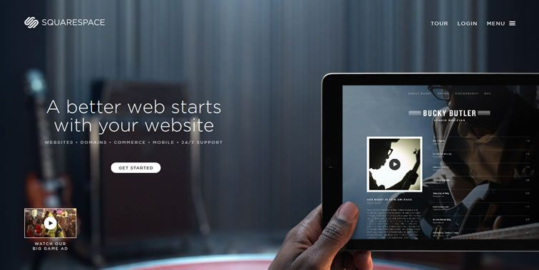 Squarespace homepage clean modern responsive web inspiration