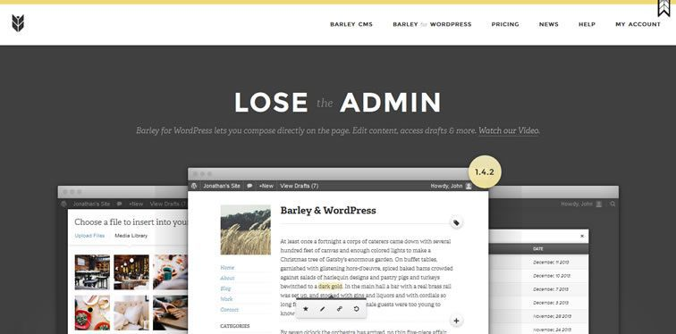Barley CMS homepage clean modern responsive web inspiration