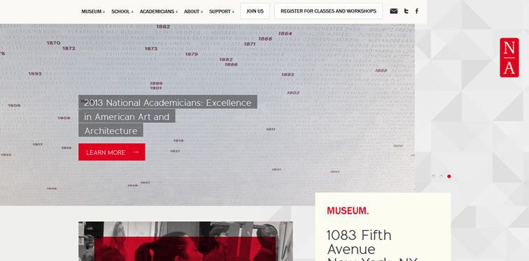 National Academy Museum homepage clean modern responsive web inspiration