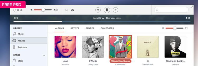 iTunes IOS7 UI Kit weekly news for designers