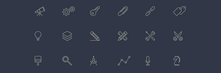 100 Line-Style Icons weekly news for designers