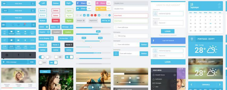 freebies designers web Flatastic Mobile UI Kit PSD