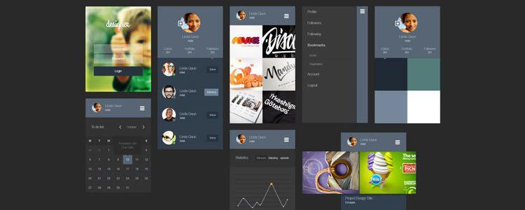 freebies designers web Designer Portfolio App Ui Kit psd