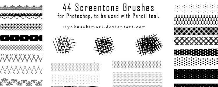 freebies designers web 44 Pixel Screentone Brushes