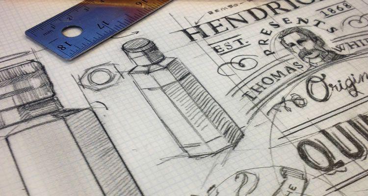 Hendricks Quinetum logo design sketch process branding
