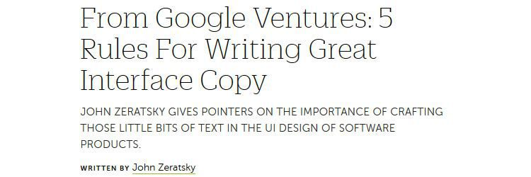 writing great interface copy weekly news for designers
