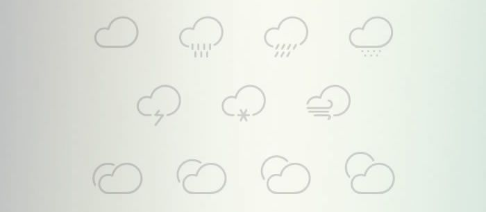 Outlined Weather Icons Collection weekly news for designers