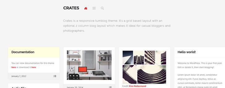 Crates - A free, responsive & grid-based tumblog theme for WordPress on this weeks design news