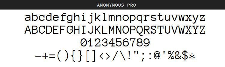 Anonymous Pro Regular Italic Bold free programming code fonts