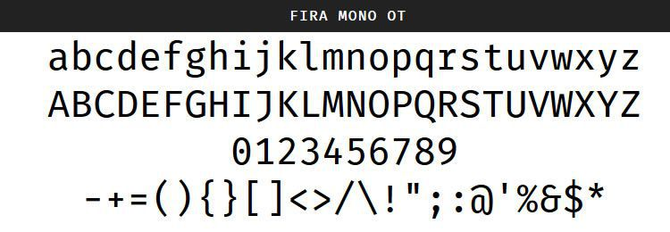 Fira Mono Regular Bold free programming code fonts