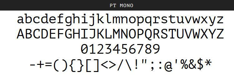PT Mono Regular Bold free programming code fonts