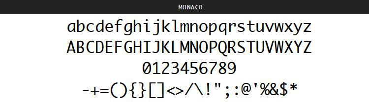 Monaco apple mac OSX free programming code fonts