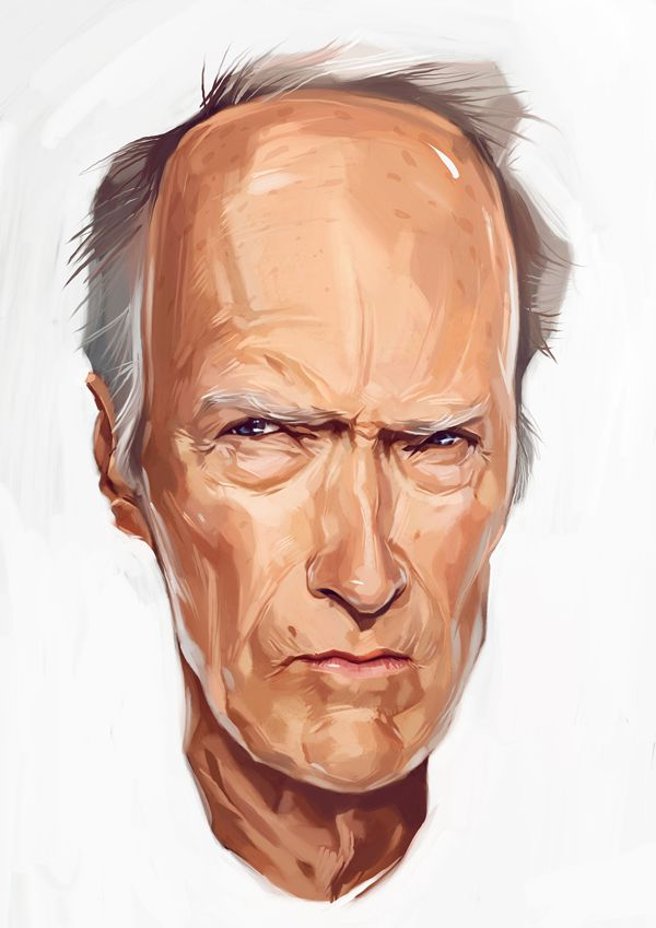 Clint Eastwood carictaure art drawing illustration artist