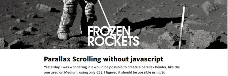 parallax header without using Javascript weekly news