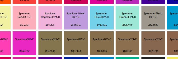 A list of Pantone colors as Sass variables weekly news