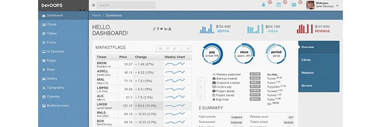 Web Templates DevOOPS Bootstrap Admin Theme freebies designer