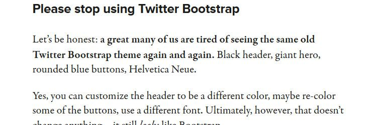 Please stop using Twitter Bootstrap