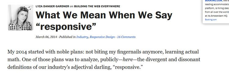 What We Mean When We Say responsive