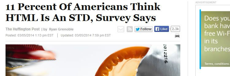 11% of Americans think HTML is an STD