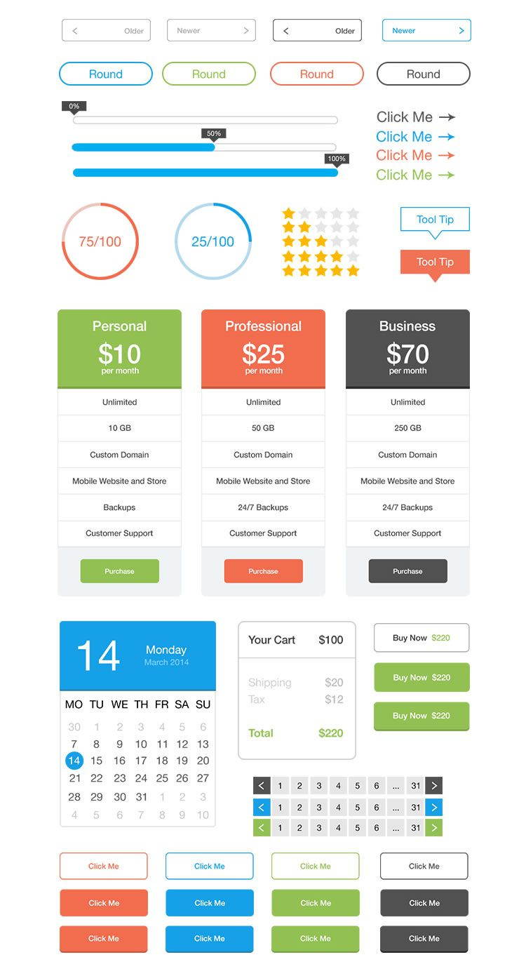 free Flat User Interface Kit psd medium screenshot