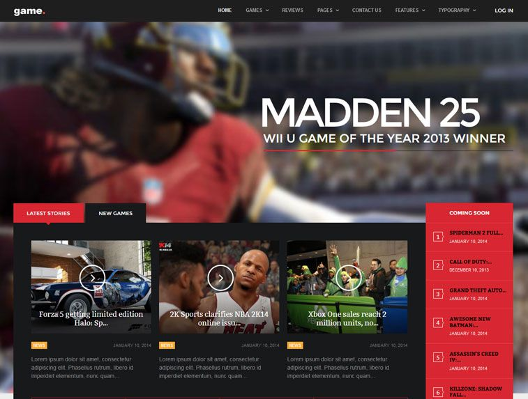 A screenshot of the Game Joomla template from GavickPro