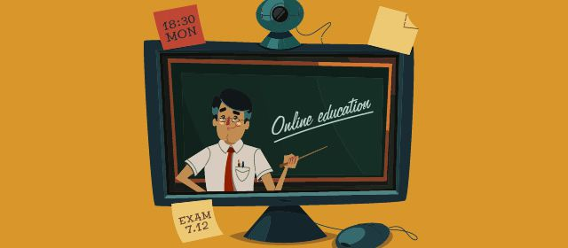 Online education Vector illustration.