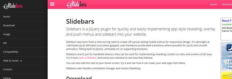 Slidebars frontend app-style push-menu jquery plugins