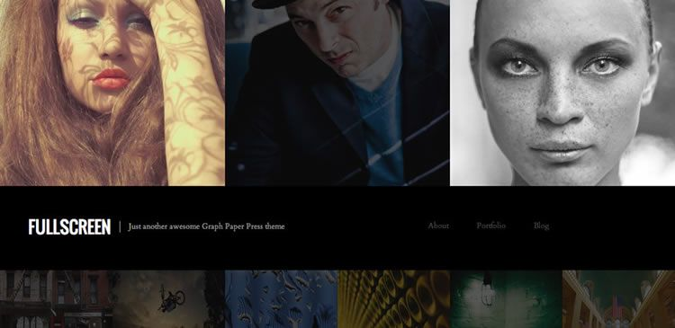One column photography new responsive free WordPress themes Fullscreen