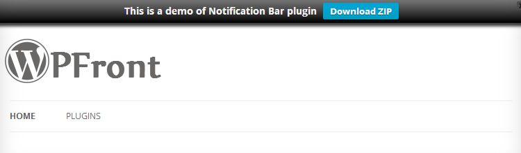 WPFront customizable notification bar plugin wordpress
