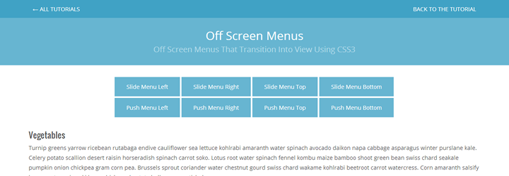 preview demo tutorial Menu css3 transition app-style off screen menu navigation