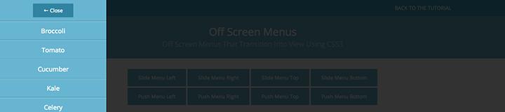 Slide Left Menu css3 transition app-style menu navigation