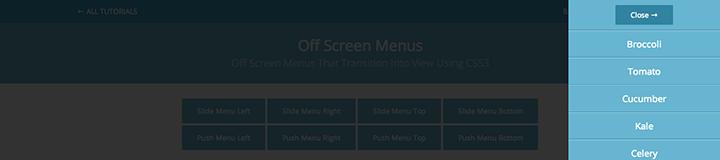 Slide Menu Right css3 transition app-style menu navigation