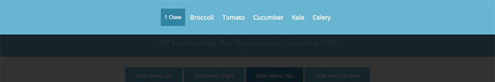 Slide Top Menu css3 transition app-style menu navigation