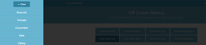 Push Menu Left css3 transition app-style menu navigation