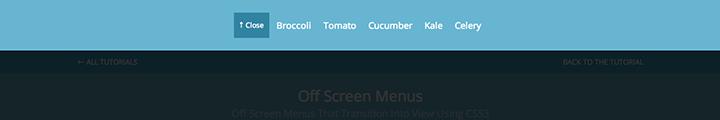 Push Menu Top css3 transition app-style menu navigation