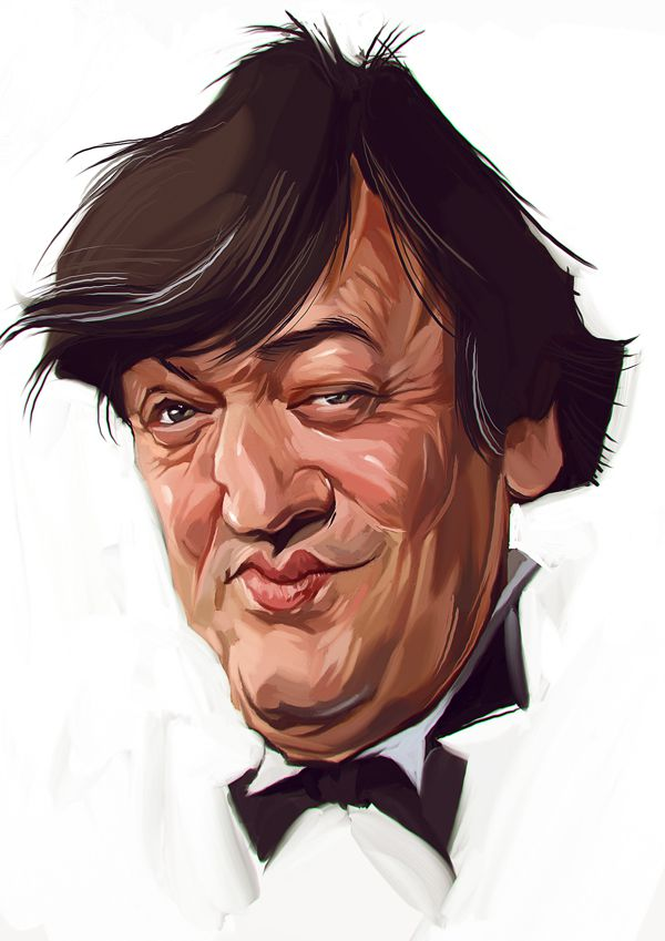 Stephen Fry carictaure drawing illustration artist