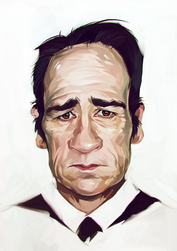 Tommy Lee Jones carictaure drawing illustration artist