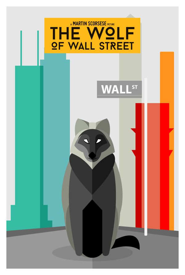 Wolf of Wall Street literal movies poster illustration