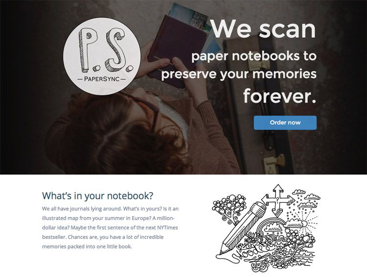 The PaperSync homepage as a web design example of a beautiful landing page