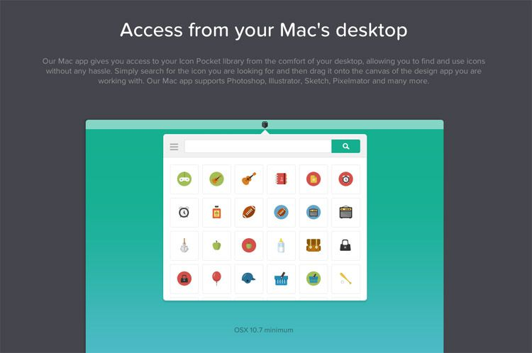 The Icon Pocket homepage as an example of a stylish homepage in web design ux