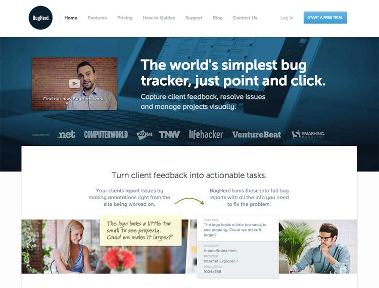 The BugHerd homepage as a web design example of a beautiful landing page