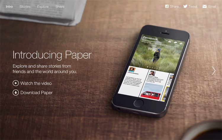 The Paper by Facebook homepage as an example of a stylish landing page in web design ux