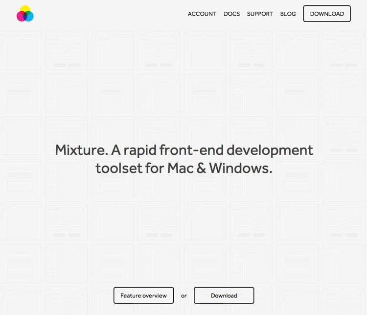 The Mixture homepage as a web design example of a beautiful homepage