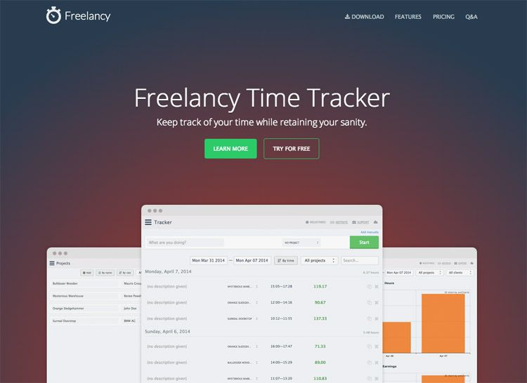 The Freelancy homepage as a web design example of a beautiful landing page