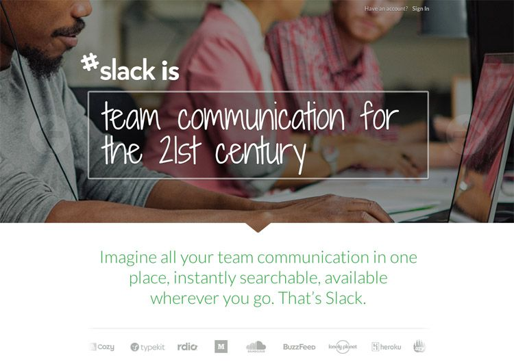The Slack homepage as a web design example of a beautiful landing page