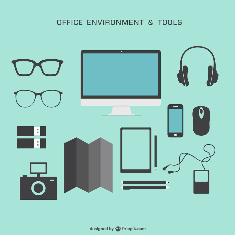 Office environment and tools vector pack colorless free